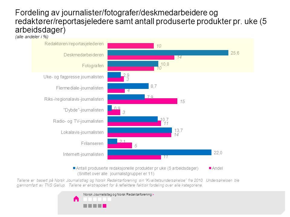 Fordeling av journalister/fotografer/deskmedarbeidere og redaktører/reportasjeledere samt antall produserte produkter pr.
