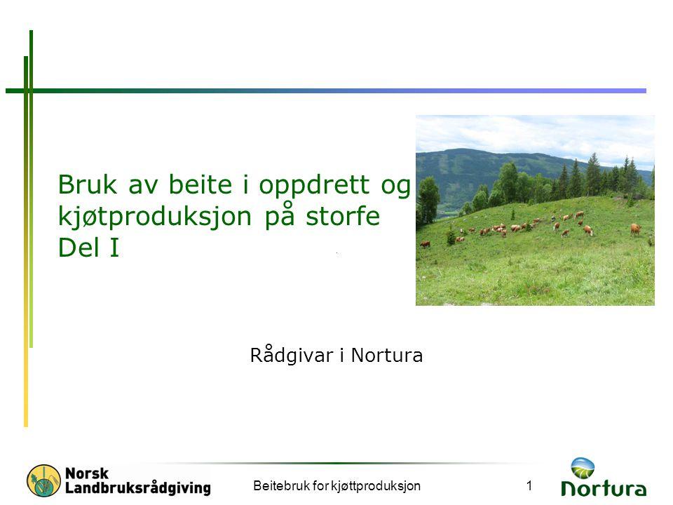 Beitebruk for kjøttproduksjon1 Bruk av beite i oppdrett og kjøtproduksjon på storfe Del I Rådgivar i Nortura