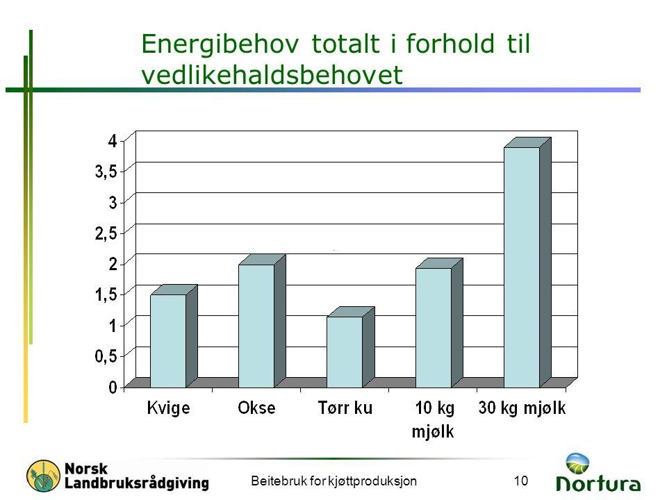 Beitebruk for kjøttproduksjon10 Energibehov totalt i forhold til vedlikehaldsbehovet X