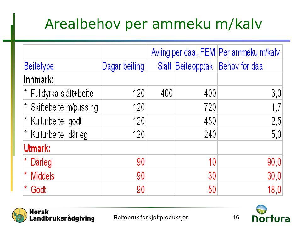 Beitebruk for kjøttproduksjon16 Arealbehov per ammeku m/kalv