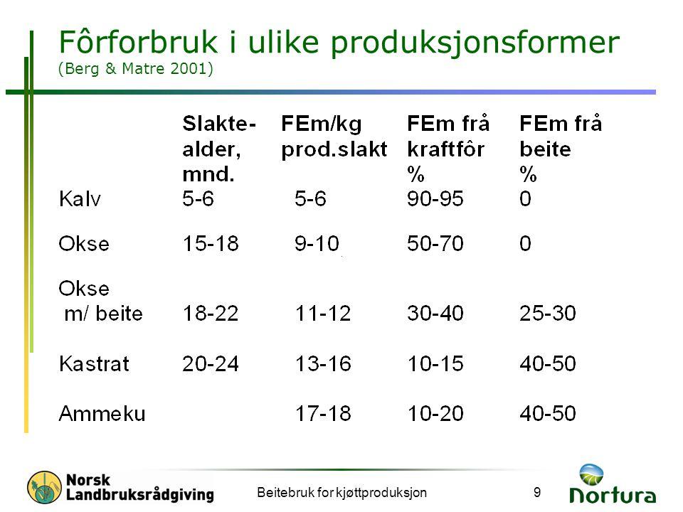 Beitebruk for kjøttproduksjon9 Fôrforbruk i ulike produksjonsformer (Berg & Matre 2001)