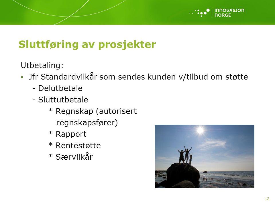 12 Sluttføring av prosjekter Utbetaling: Jfr Standardvilkår som sendes kunden v/tilbud om støtte - Delutbetale - Sluttutbetale * Regnskap (autorisert