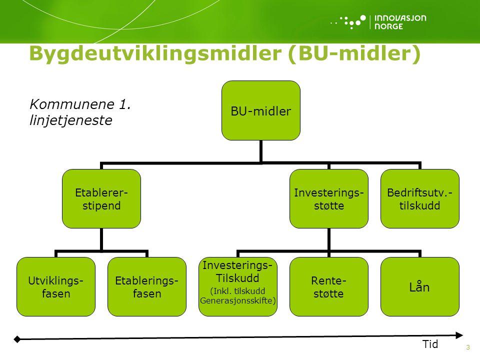 3 Bygdeutviklingsmidler (BU-midler) BU-midler Etablerer- stipend Utviklings- fasen Etablerings- fasen Investerings- støtte Investerings- Tilskudd (Ink