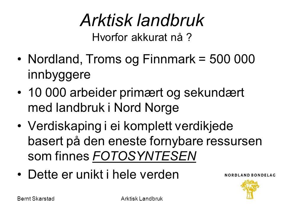 Arktisk landbruk Hvorfor akkurat nå ? Nordland, Troms og Finnmark = 500 000 innbyggere 10 000 arbeider primært og sekundært med landbruk i Nord Norge