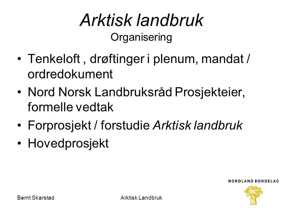 Arktisk landbruk Organisering Tenkeloft, drøftinger i plenum, mandat / ordredokument Nord Norsk Landbruksråd Prosjekteier, formelle vedtak Forprosjekt