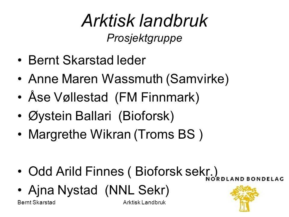 Arktisk landbruk Prosjektgruppe Bernt Skarstad leder Anne Maren Wassmuth (Samvirke) Åse Vøllestad (FM Finnmark) Øystein Ballari (Bioforsk) Margrethe W