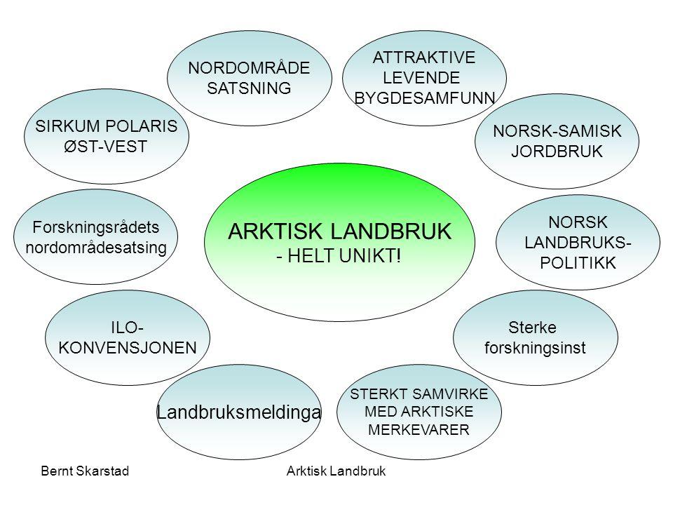 ARKTISK LANDBRUK Velkommen til bords Nasjonal landbrukspolitikk Landbruk over HELE landet Økt verdiskaping Jordbruksavtale Bærekraftig landbruk Jordvern Kanaliseringspolitikken Matsikkerhet Markedsordningene STERKT SAMVIRKE MED ARKTISKE MERKEVARER Importvern Arktisk LandbrukBernt Skarstad