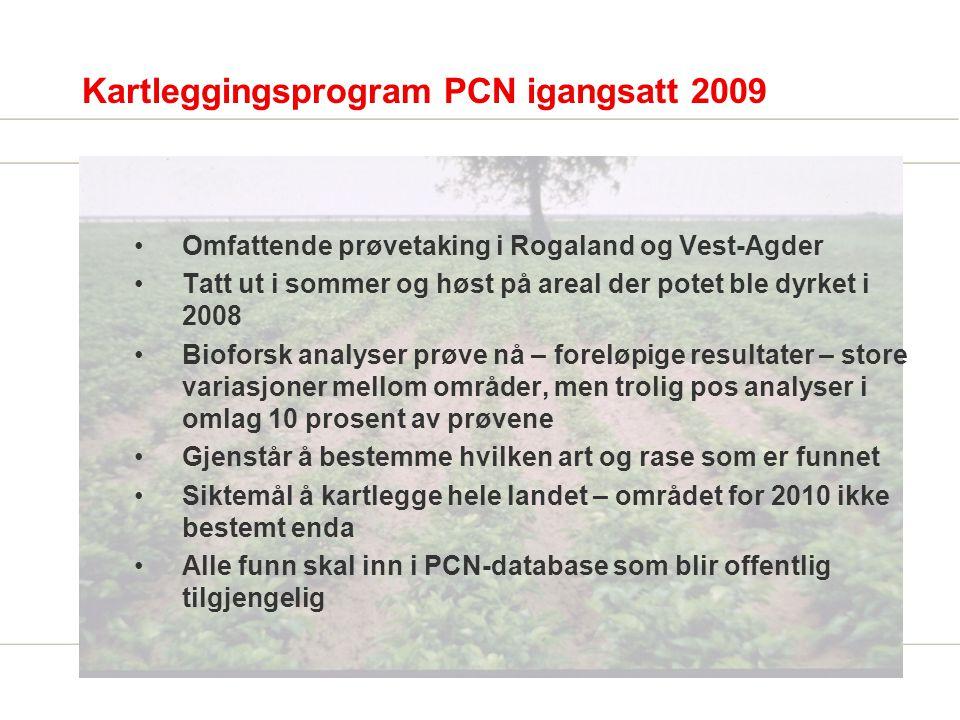 PCN – veien videre (utkast) Mattilsynet drøfte forvaltningsstrategier inkl ambisjonsnivå (utrydding kontra isolere/begrense), og kost nytte beregninger med sentrale aktører - næringsorganisasjonene Bioforsk, Landbruksrådgivning FMLA m.fl.
