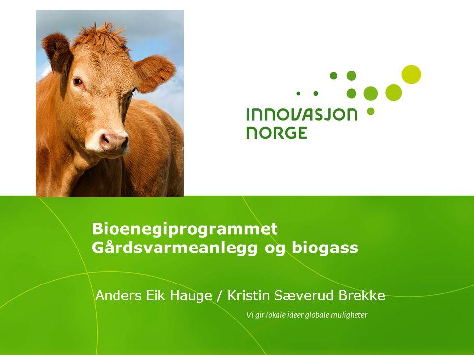 Bioenegiprogrammet Gårdsvarmeanlegg og biogass Anders Eik Hauge / Kristin Sæverud Brekke