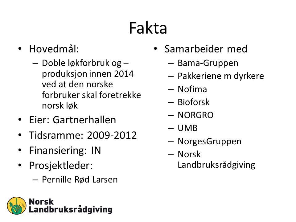 Fakta Hovedmål: – Doble løkforbruk og – produksjon innen 2014 ved at den norske forbruker skal foretrekke norsk løk Eier: Gartnerhallen Tidsramme: 200