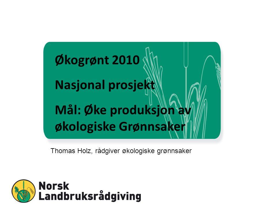 Økogrønt 2010 Nasjonal prosjekt Mål: Øke produksjon av økologiske Grønnsaker Thomas Holz, rådgiver økologiske grønnsaker