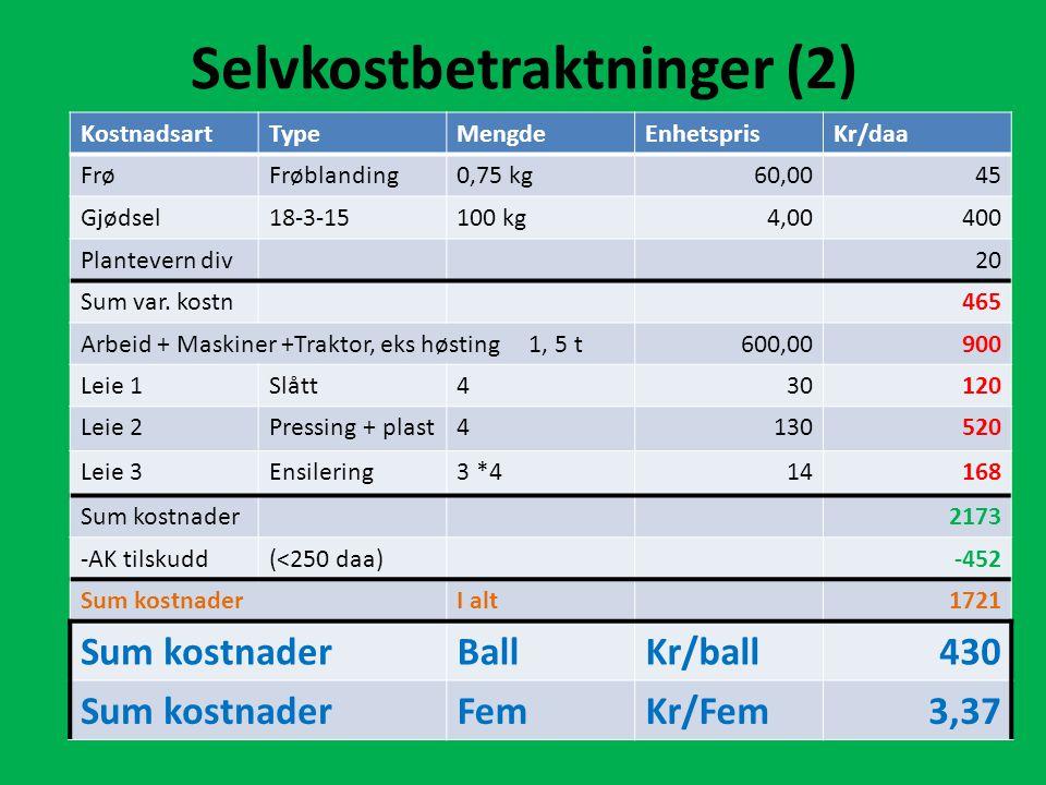Selvkostbetraktninger (2) KostnadsartTypeMengdeEnhetsprisKr/daa FrøFrøblanding0,75 kg60,0045 Gjødsel18-3-15100 kg4,00400 Plantevern div20 Sum var.