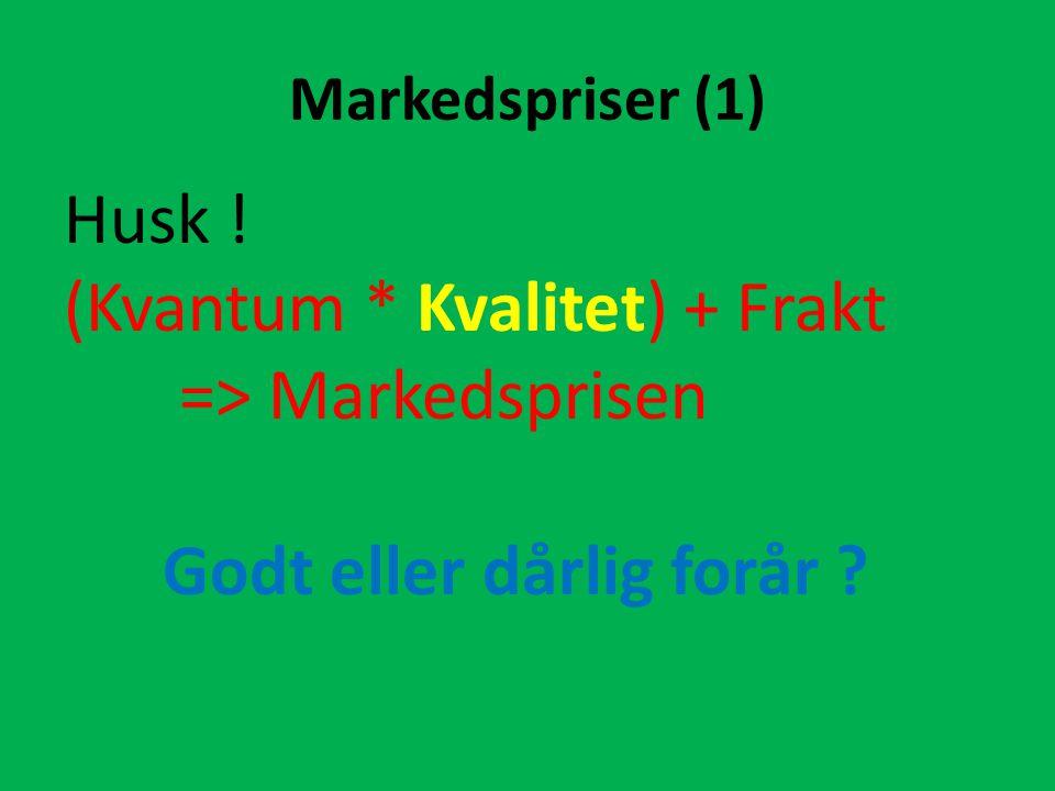 Markedspriser (1) Husk ! (Kvantum * Kvalitet) + Frakt => Markedsprisen Godt eller dårlig forår ?