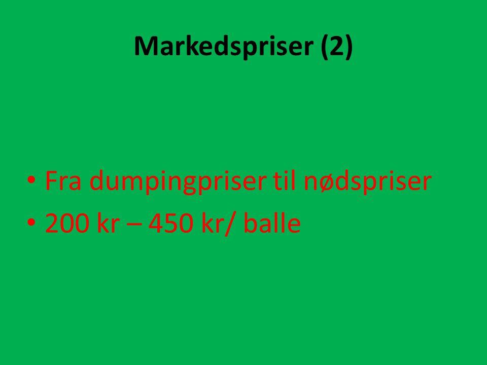 Markedspriser (2) Fra dumpingpriser til nødspriser 200 kr – 450 kr/ balle
