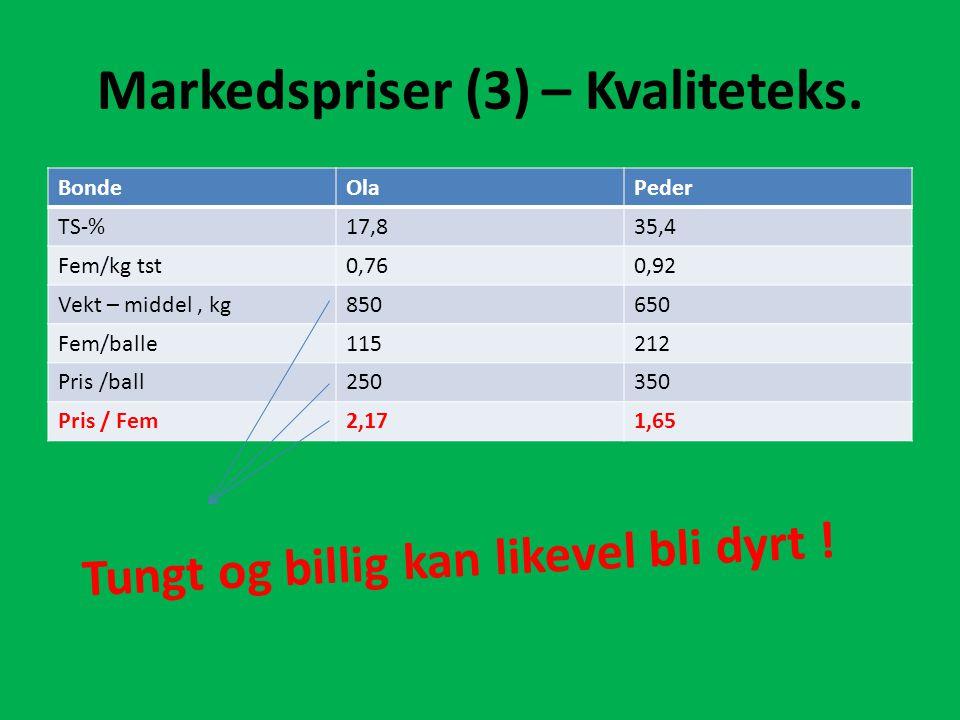 Markedspriser (3) – Kvaliteteks. BondeOlaPeder TS-%17,835,4 Fem/kg tst0,760,92 Vekt – middel, kg850650 Fem/balle115212 Pris /ball250350 Pris / Fem2,17