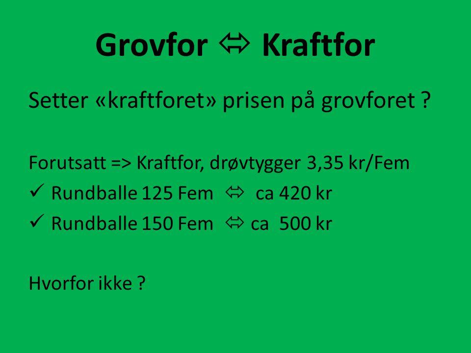 Grovfor  Kraftfor Setter «kraftforet» prisen på grovforet .