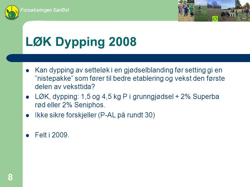 LØK setteavstand 2008 I fosforgjødsling og tilføringsmåter til kepaløk har det vist at det kan være store utslag for fosforgjødsling i sortering stor løk.