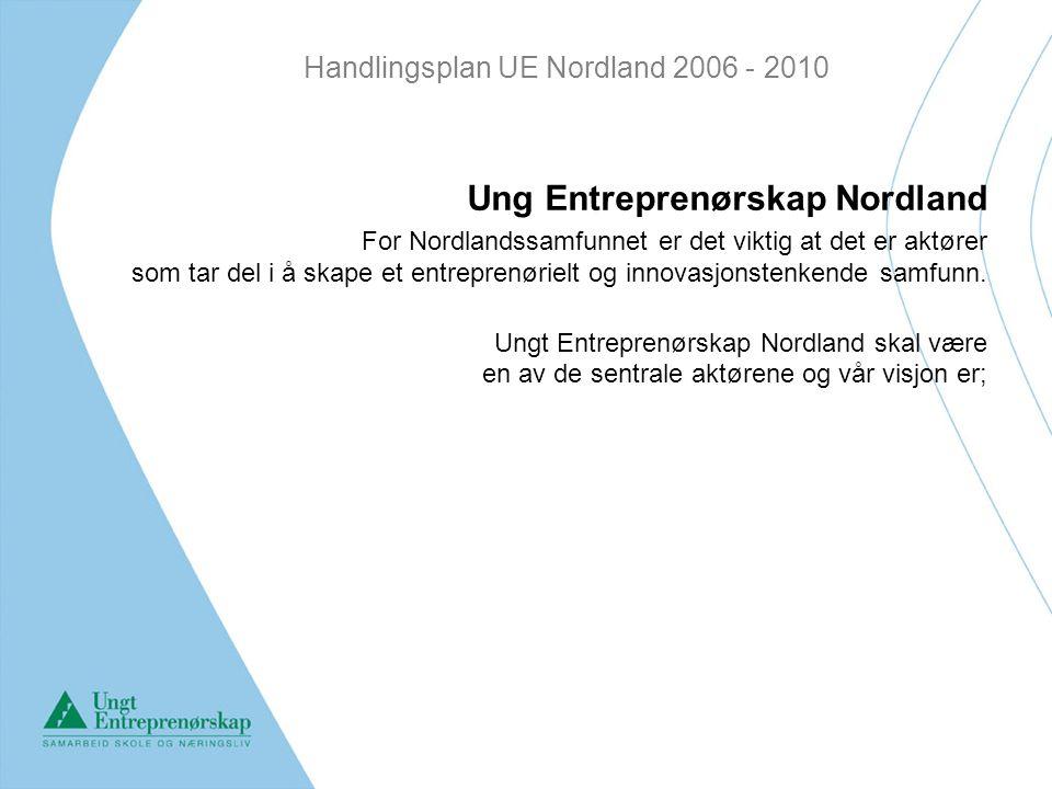 Handlingsplan UE Nordland 2006 - 2010 Visjon Gi barn og ungdom muligheten til å: Utvikle sine innovative og entreprenørielle ferdigheter Utvide sin kunnskap om arbeidslivet gjennom samarbeid med det lokale næringsliv Utvikle seg til skapende, samarbeidende mennesker som aktivt deltar i utviklingen av samfunnslivet