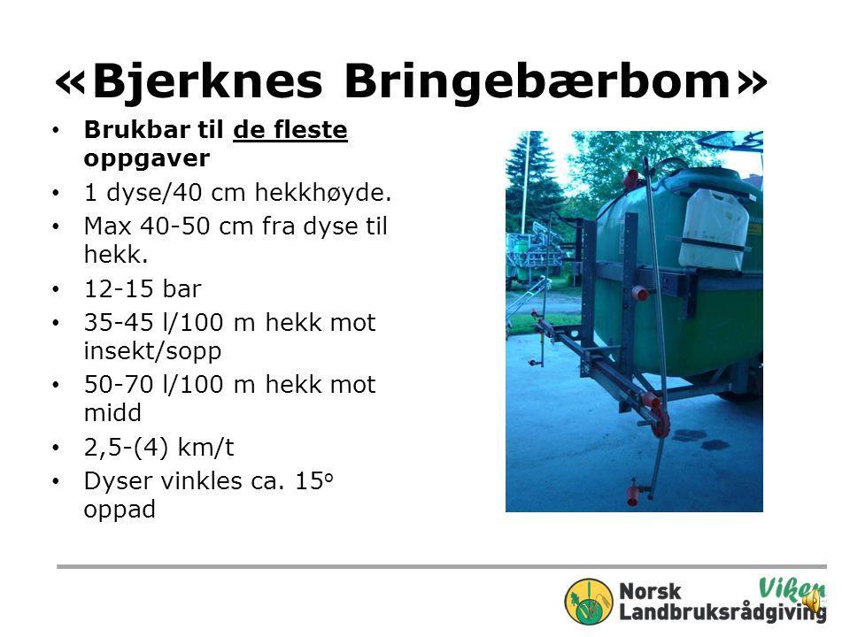 «Bjerknes Bringebærbom» Brukbar til de fleste oppgaver 1 dyse/40 cm hekkhøyde.