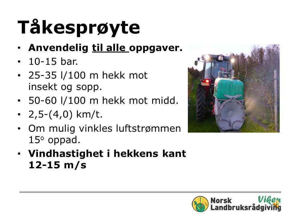 «Bjerknes Bringebærbom» Brukbar til de fleste oppgaver 1 dyse/40 cm hekkhøyde. Max 40-50 cm fra dyse til hekk. 12-15 bar 35-45 l/100 m hekk mot insekt