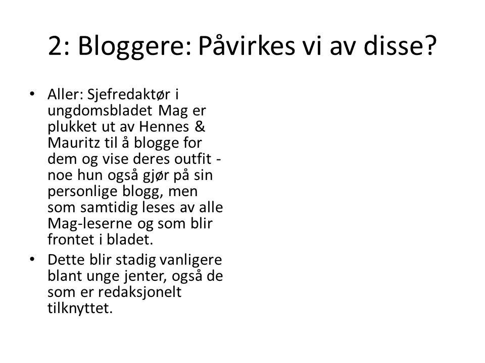 2: Bloggere: Påvirkes vi av disse.