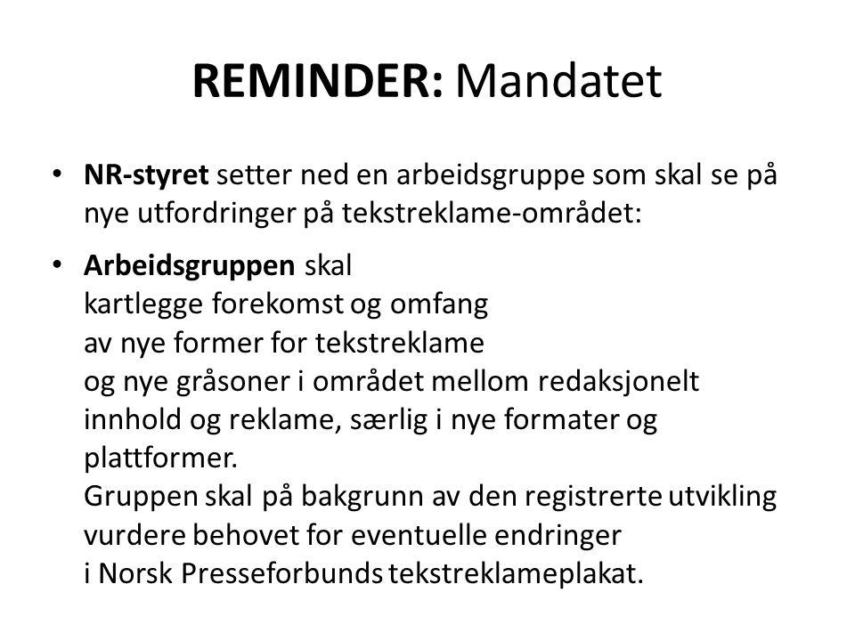 Temaer for regler om tekstreklame Tekstreklameplakaten (TRP): 1.Produktomtaler 2.Temabilag/-sider 3.Produktnavn på arr.