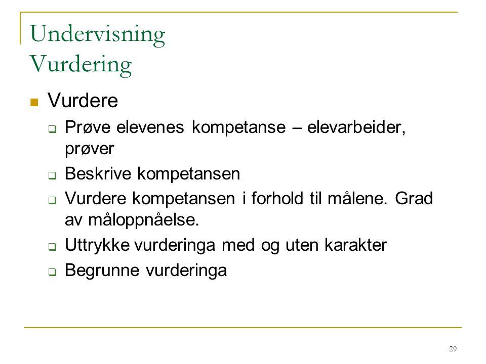 30 Undervisning Veileding for økt læringsutbytte Tilbakemeldinga må uttrykke:  Hva eleven kan  Graden av måloppnåelse og begrunnelse for den  Hva en sammen kan gjøre for at eleven kan utvikle sin kompetanse  Motivere eleven Dialogisk tilbakemelding