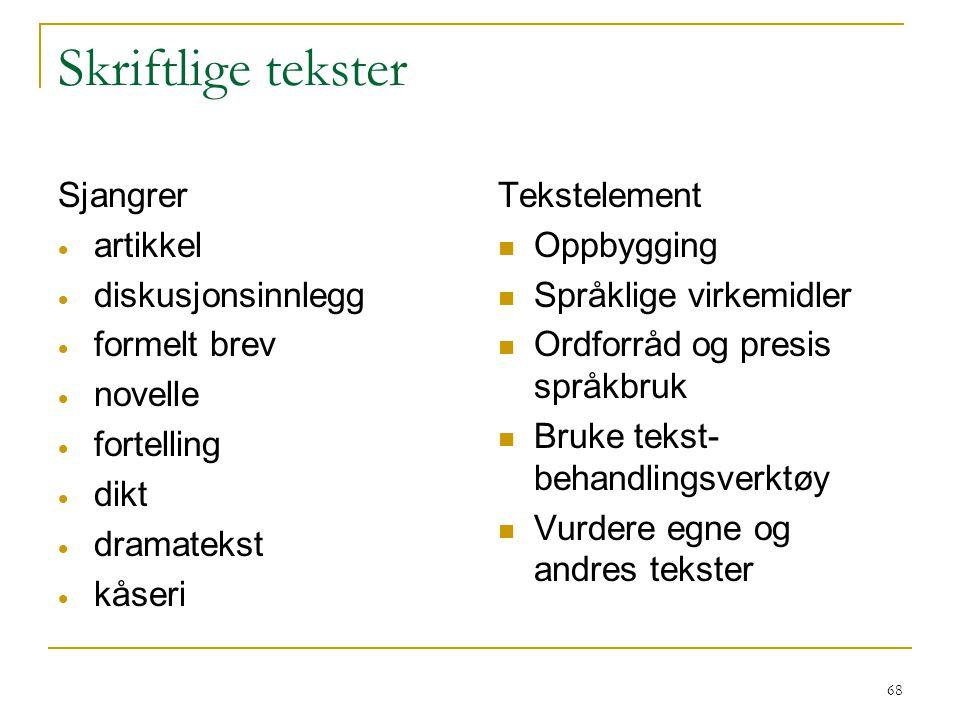69 Skriftlige tekster Generelle kjennetegn Tekstidé – samsvar med oppgaven.