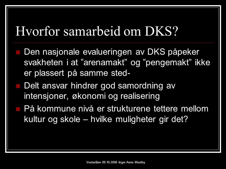 Vesterålen 09.10.2006 Inger Anne Westby Hvorfor samarbeid om DKS.