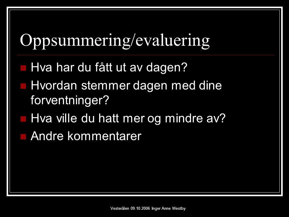 Vesterålen 09.10.2006 Inger Anne Westby Oppsummering/evaluering Hva har du fått ut av dagen.