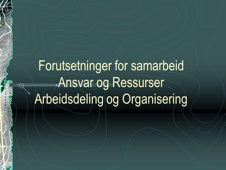 Forutsetninger for samarbeid Ansvar og Ressurser Arbeidsdeling og Organisering