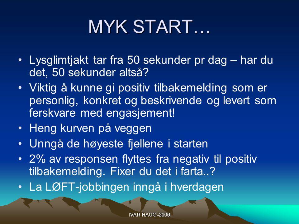 IVAR HAUG -2006 MYK START… Lysglimtjakt tar fra 50 sekunder pr dag – har du det, 50 sekunder altså.