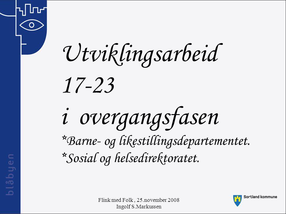 Flink med Folk, 25.november 2008 Ingolf S.Markussen Utviklingsarbeid 17-23 i overgangsfasen *Barne- og likestillingsdepartementet.