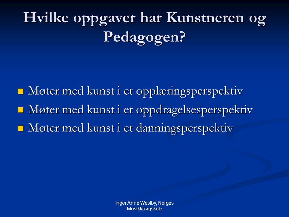 Inger Anne Westby, Norges Musikkhøgskole Hvilke oppgaver har Kunstneren og Pedagogen.