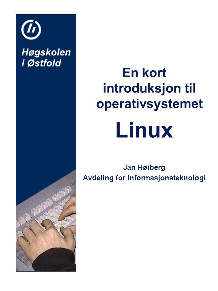 En kort introduksjon til operativsystemet Linux Jan Høiberg Avdeling for Informasjonsteknologi