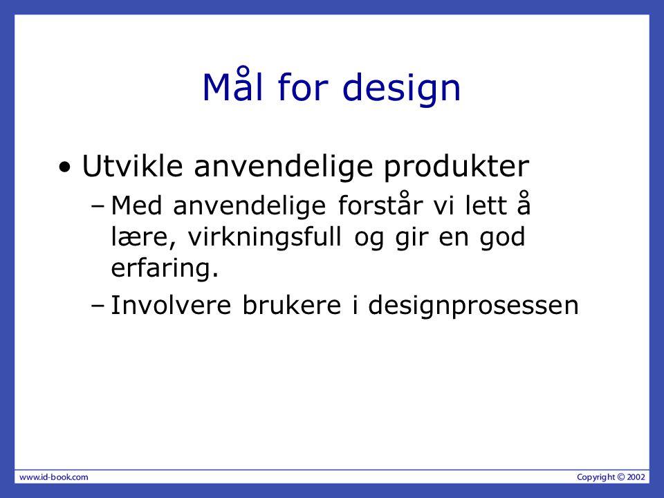Mål for design Utvikle anvendelige produkter –Med anvendelige forstår vi lett å lære, virkningsfull og gir en god erfaring. –Involvere brukere i desig