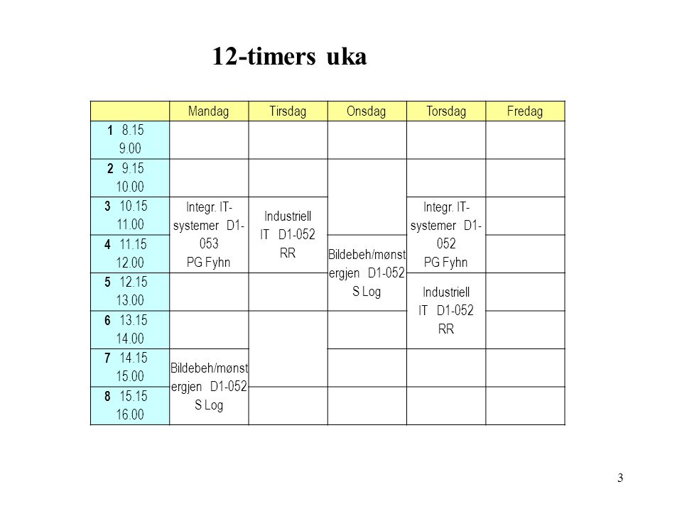 12-timers uka MandagTirsdagOnsdagTorsdagFredag 1 8.15 9.00 2 9.15 10.00 3 10.15 11.00 Integr.