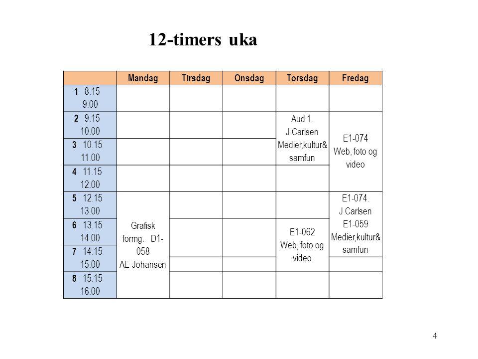 12-timers uka MandagTirsdagOnsdagTorsdagFredag 1 8.15 9.00 2 9.15 10.00 Aud 1.