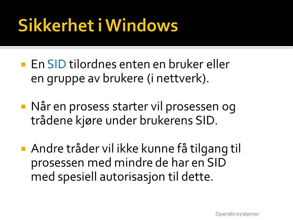  En SID tilordnes enten en bruker eller en gruppe av brukere (i nettverk).