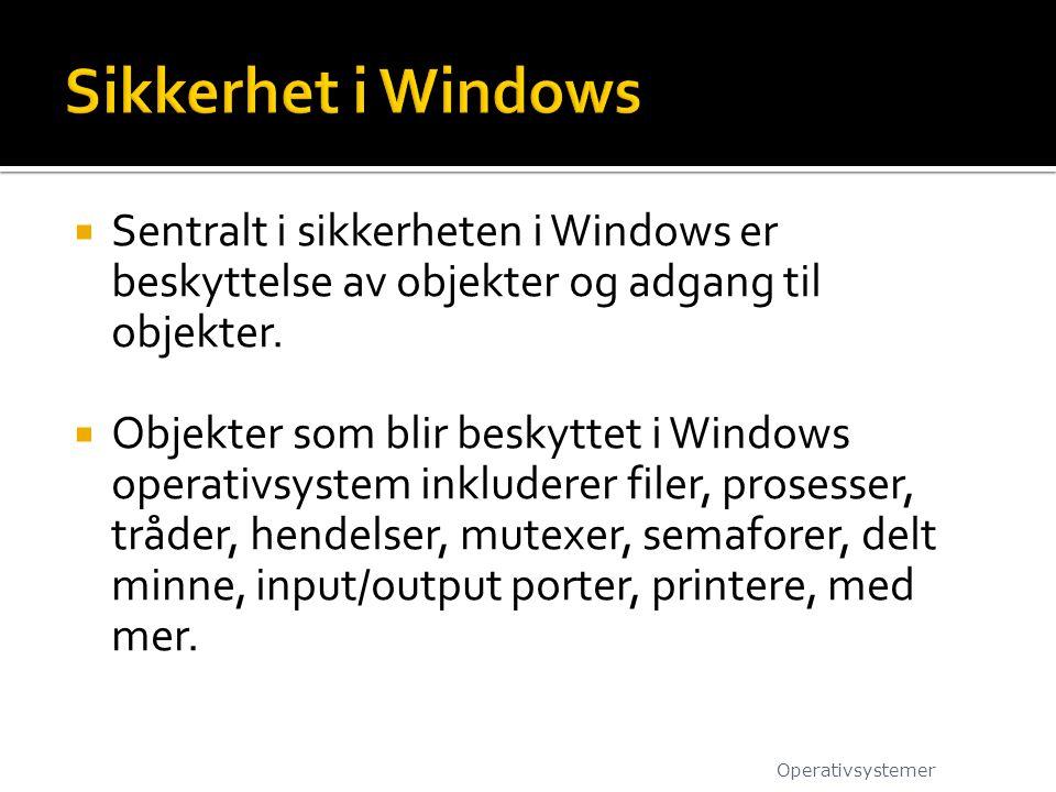  Sentralt i sikkerheten i Windows er beskyttelse av objekter og adgang til objekter.  Objekter som blir beskyttet i Windows operativsystem inkludere
