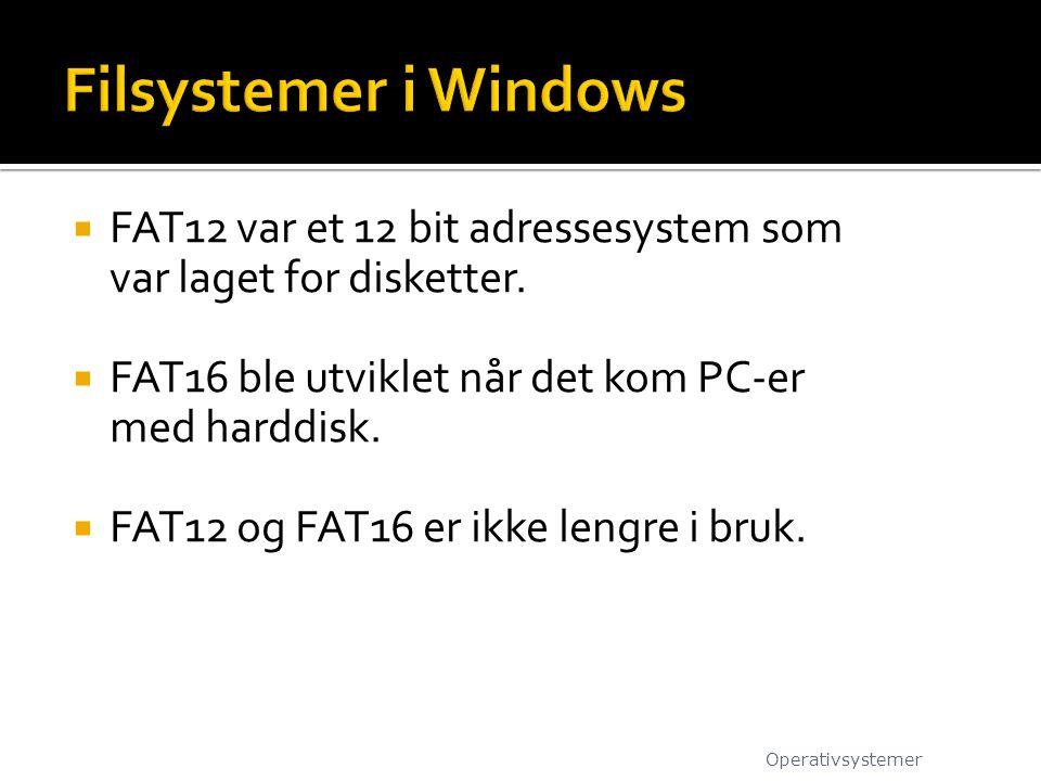  FAT12 var et 12 bit adressesystem som var laget for disketter.  FAT16 ble utviklet når det kom PC-er med harddisk.  FAT12 og FAT16 er ikke lengre