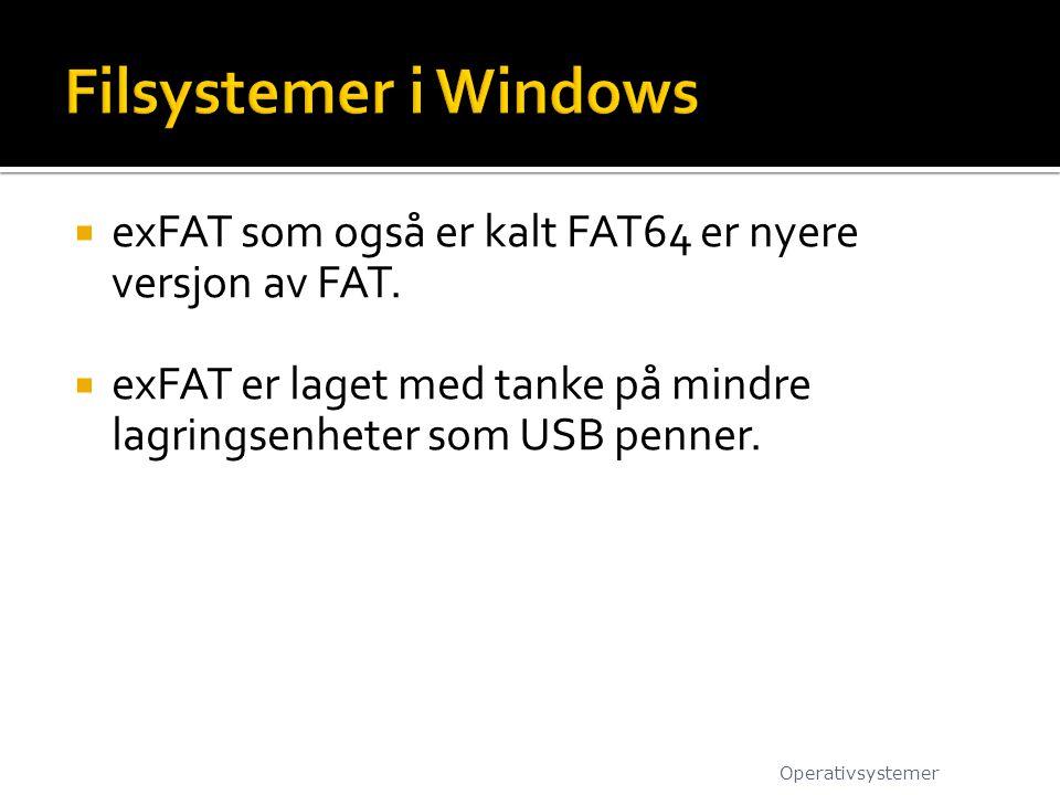  exFAT som også er kalt FAT64 er nyere versjon av FAT.  exFAT er laget med tanke på mindre lagringsenheter som USB penner. Operativsystemer