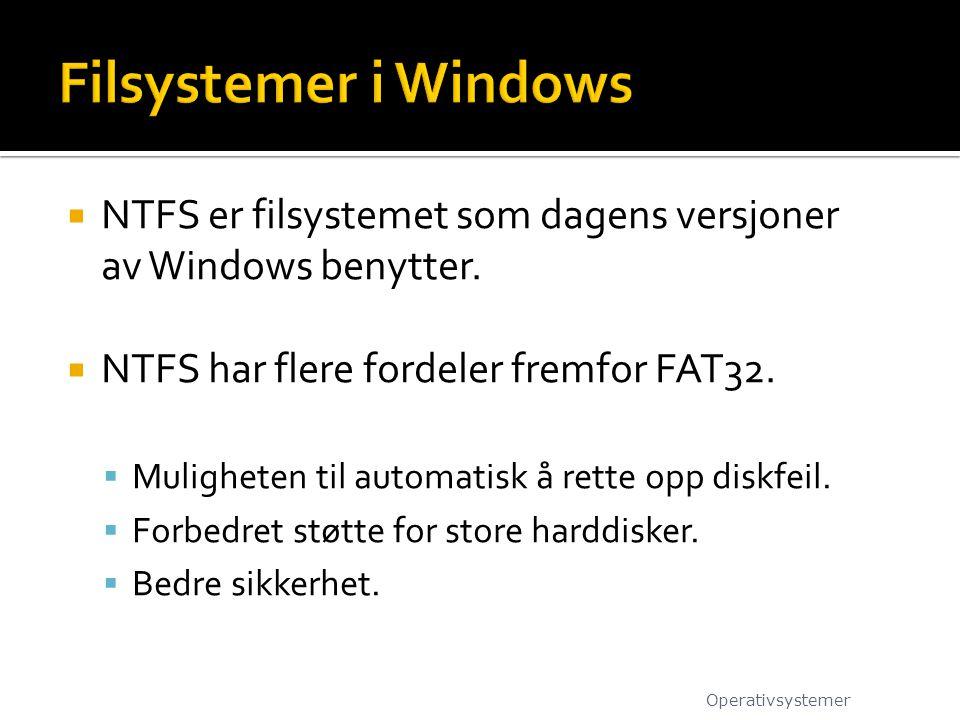  NTFS er filsystemet som dagens versjoner av Windows benytter.  NTFS har flere fordeler fremfor FAT32.  Muligheten til automatisk å rette opp diskf