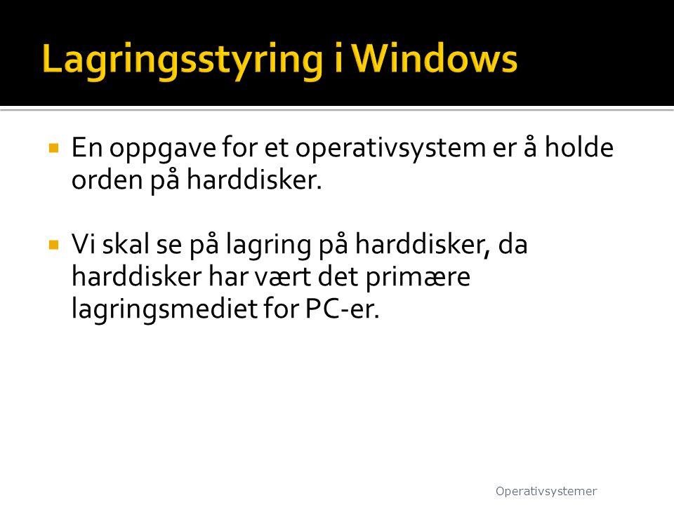  En oppgave for et operativsystem er å holde orden på harddisker.  Vi skal se på lagring på harddisker, da harddisker har vært det primære lagringsm