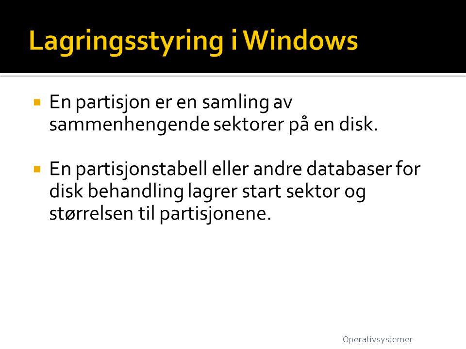  En partisjon er en samling av sammenhengende sektorer på en disk.  En partisjonstabell eller andre databaser for disk behandling lagrer start sekto