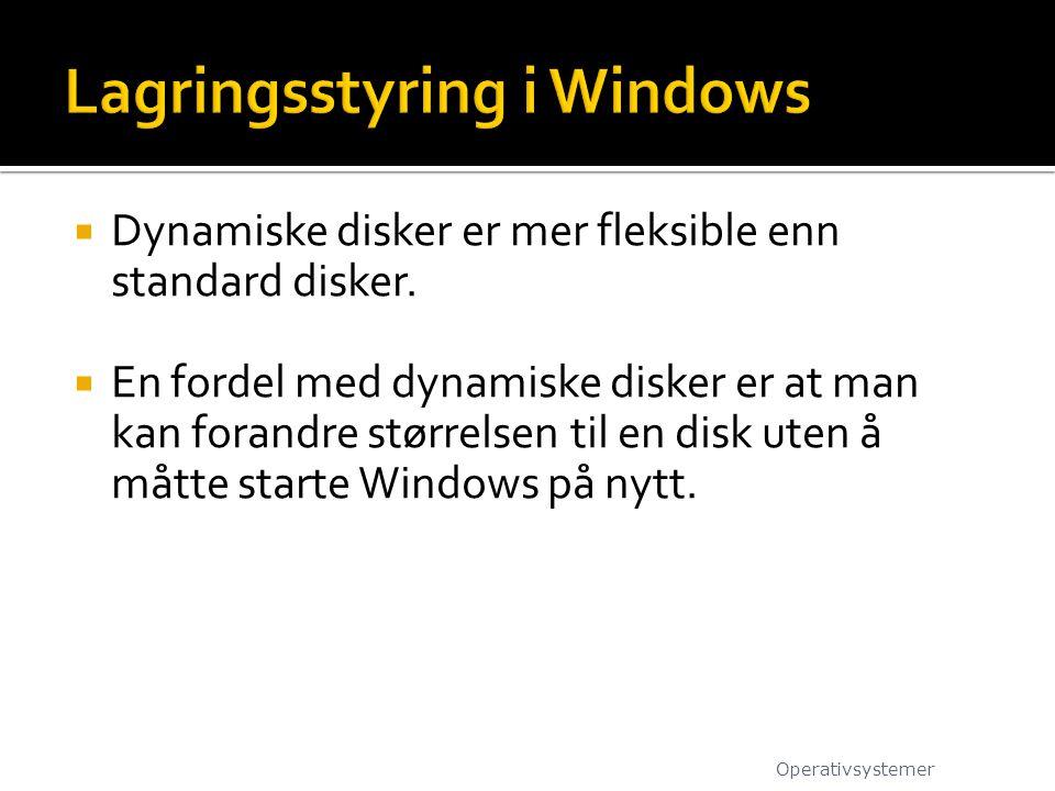  Dynamiske disker er mer fleksible enn standard disker.