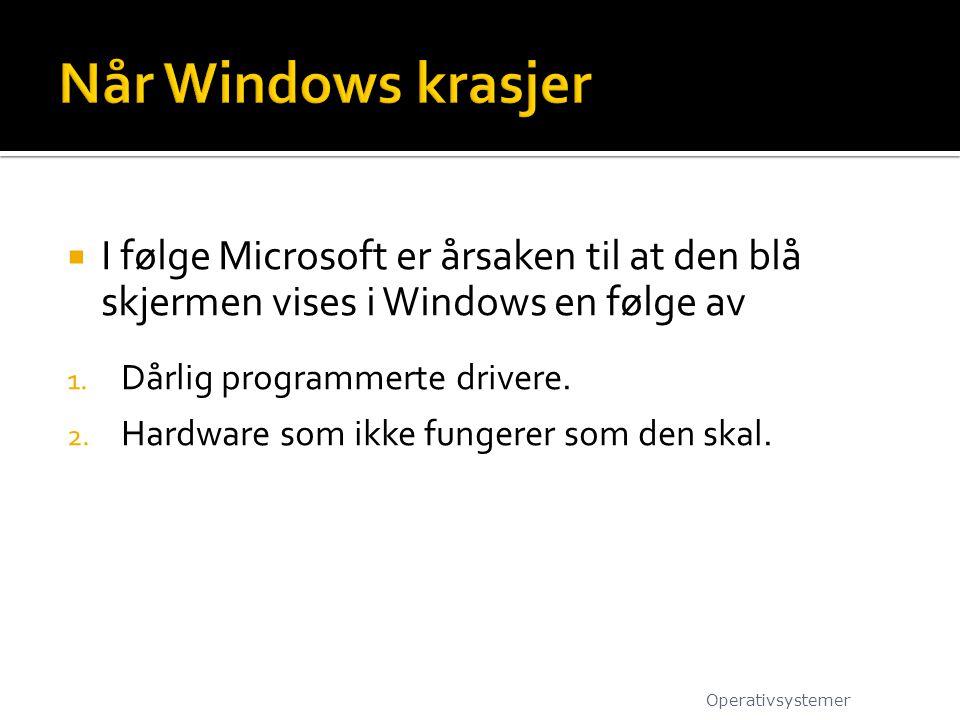  I følge Microsoft er årsaken til at den blå skjermen vises i Windows en følge av 1. Dårlig programmerte drivere. 2. Hardware som ikke fungerer som d