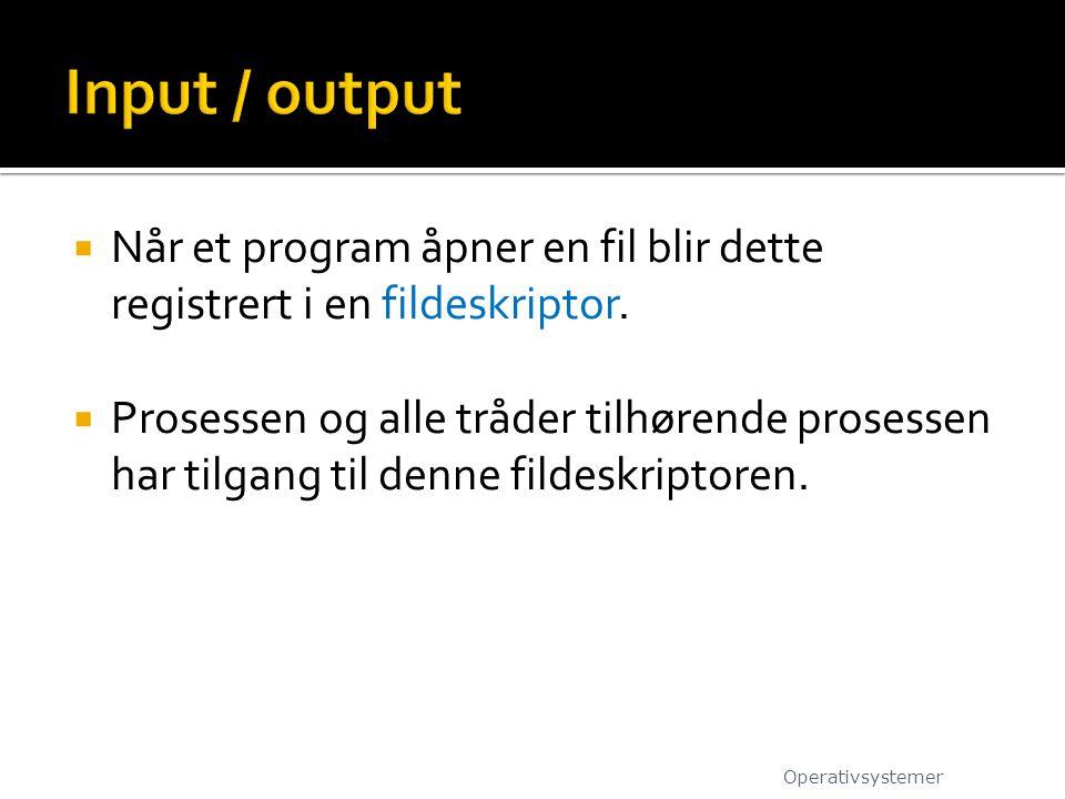  Når et program åpner en fil blir dette registrert i en fildeskriptor.  Prosessen og alle tråder tilhørende prosessen har tilgang til denne fildeskr