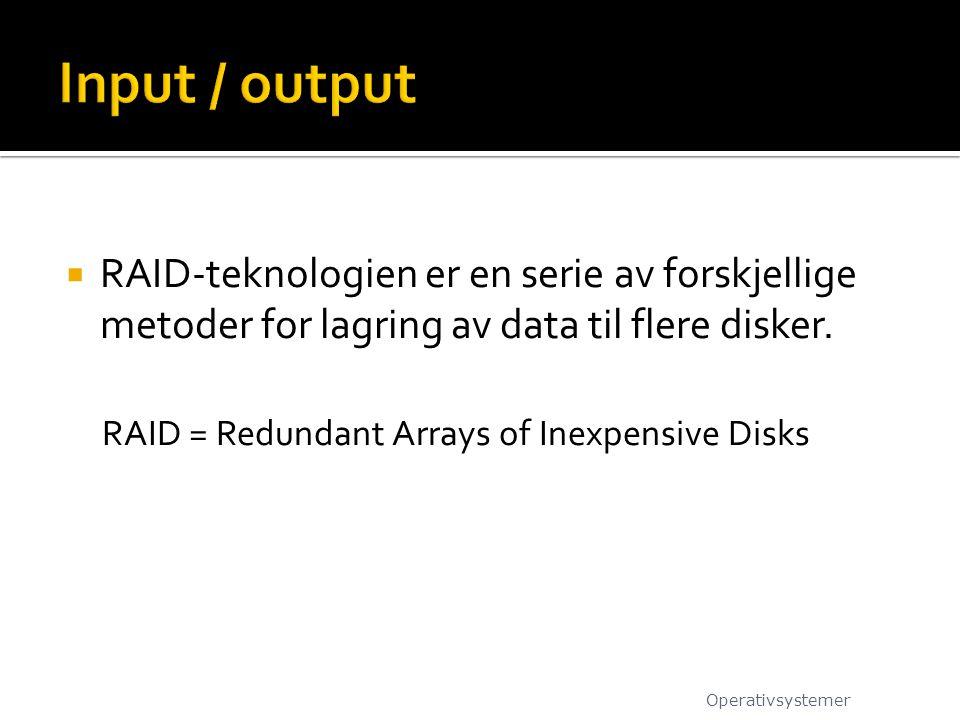  RAID-teknologien er en serie av forskjellige metoder for lagring av data til flere disker. RAID = Redundant Arrays of Inexpensive Disks Operativsyst
