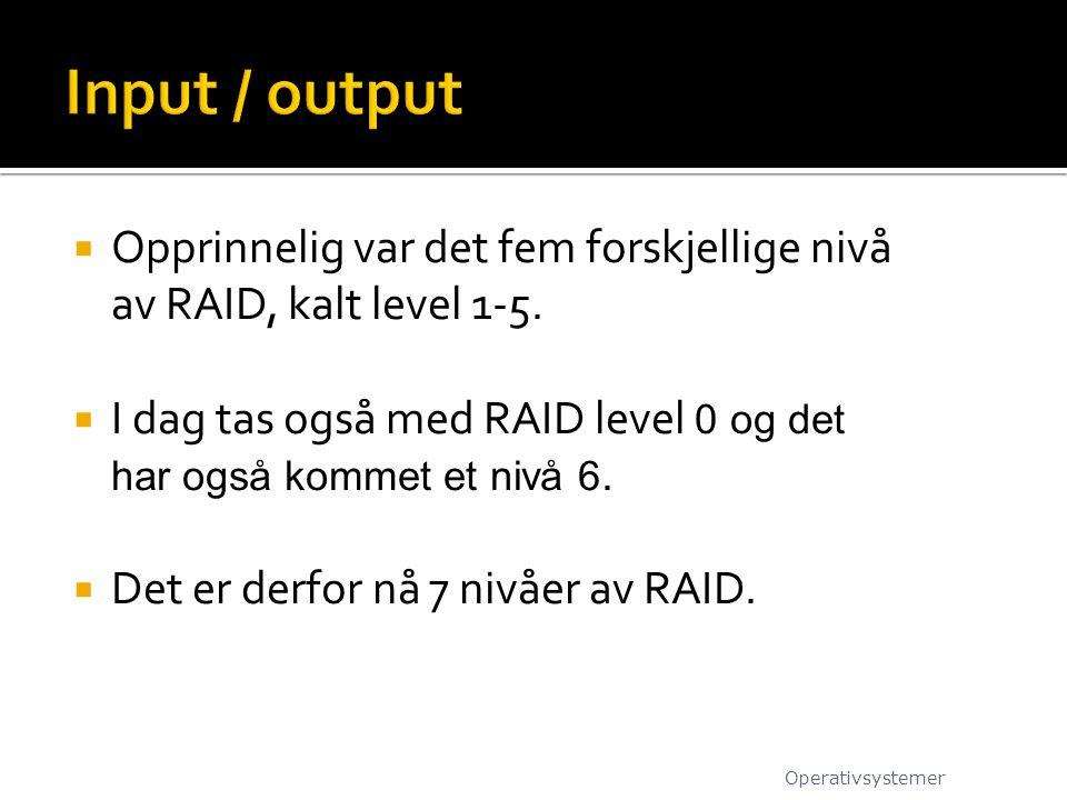  Opprinnelig var det fem forskjellige nivå av RAID, kalt level 1-5.  I dag tas også med RAID level 0 og det har også kommet et nivå 6.  Det er derf